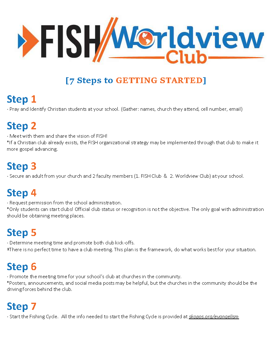 7 Steps to Getting FISH Worldview Club Started