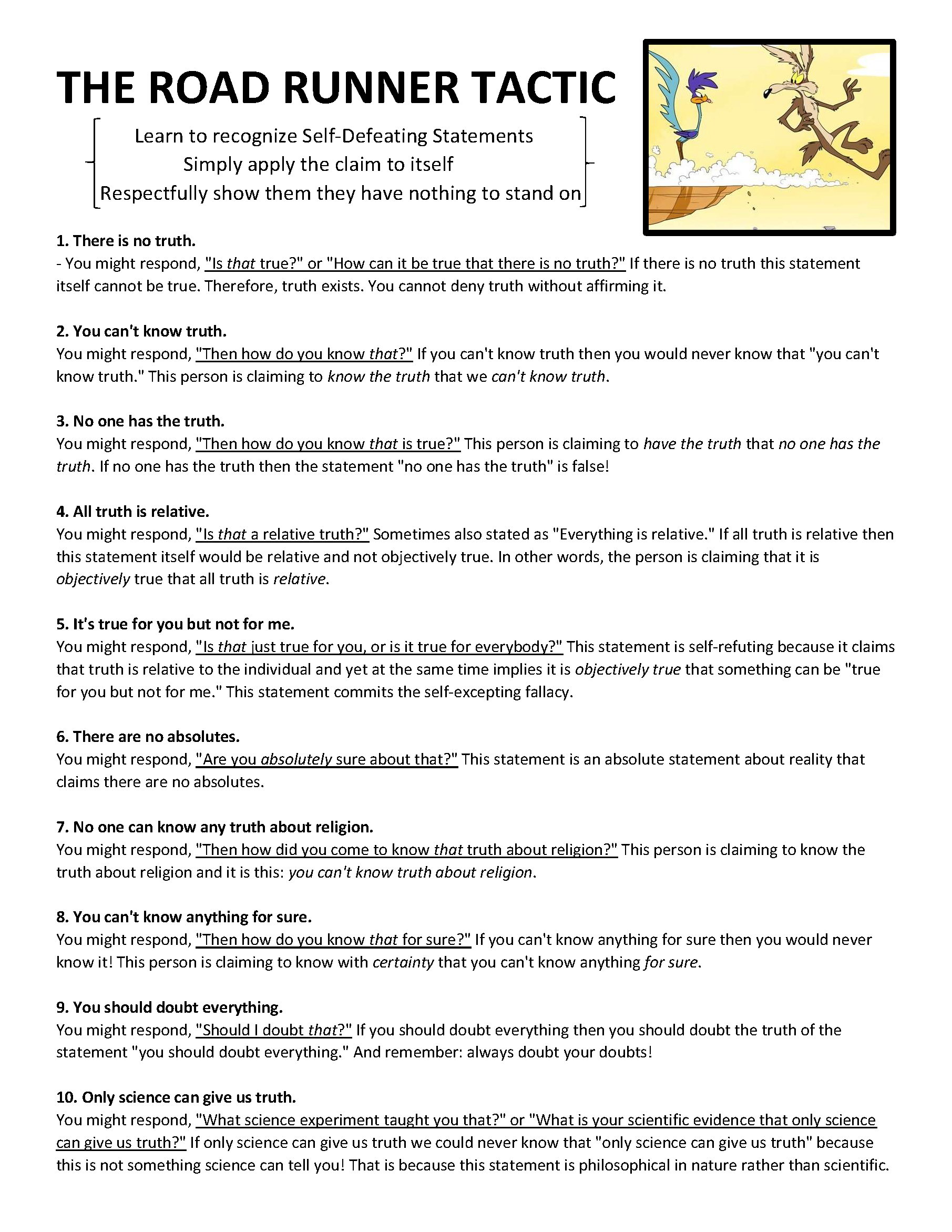 The Road Runner Tactic Handout